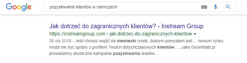 SEO - wynik wyszukiwania organicznego w Google