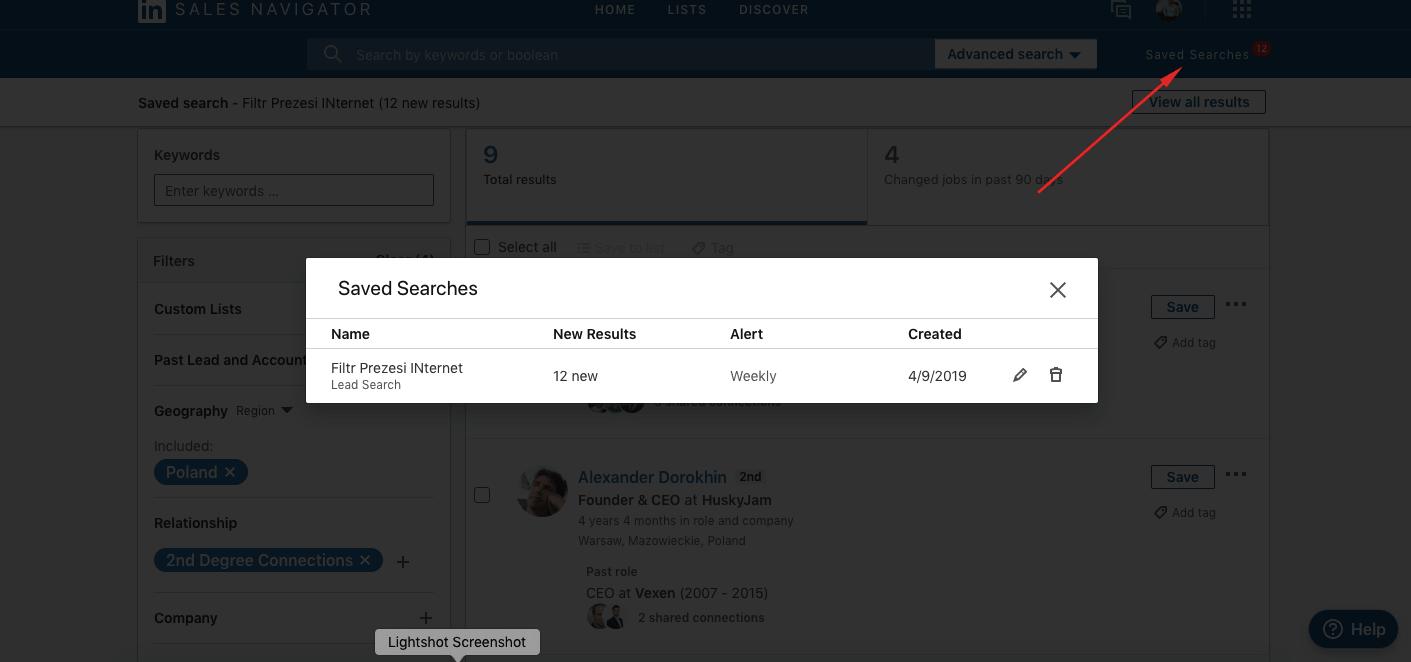 Zapisywanie filtrów wyszukiwania – powiadomienia