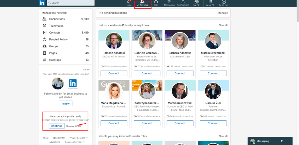 Customer aquisition on Linkedin - Importing contacts from your email inbox