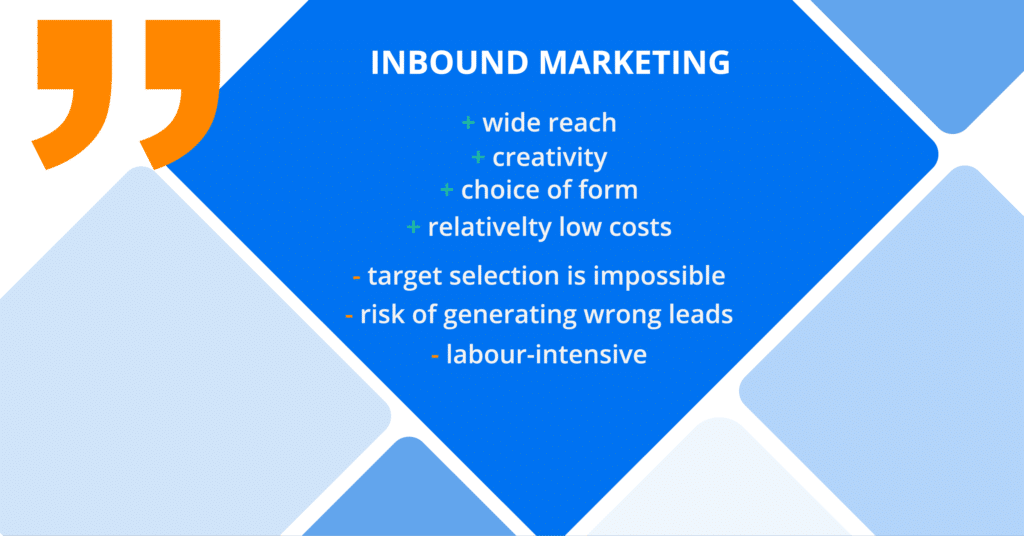 Inbound marketing lead generation - pros and cons