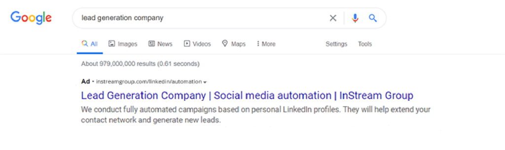 Customer acquisition using Google Ads - paid search result