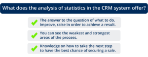 What does the analysis of statistics in the CRM system offer?
